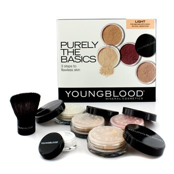Youngblood Set Purely The Basics - #Light (2xBase Maquillaje, 1x Rubor Mineral 1xPolvos Matizantes, 1 Brocha, 1xPolvos Minerales)