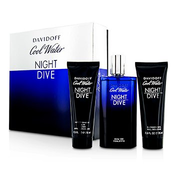 Davidoff Cool Water Night Dive Coffret: Eau De Toilette Spray 125ml + Bálsamo para Depués de Afeitar 75ml + Gel Ducha 75ml
