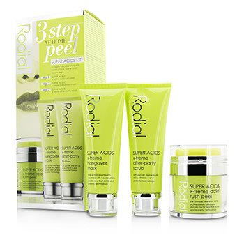 Rodial Super Acids Set - Peel en Hogar de 3 Pasos: Peel 50ml + Mascarilla 75ml + Exfoliante 75ml