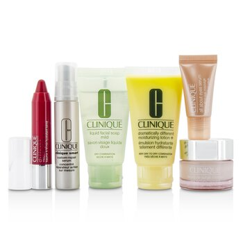 Clinique Set de Viaje: Jabón Facial 30ml + DDML+ 30ml + Moisture Surge Intense 15ml + Smart Suero 10ml +Suero Ojos 5ml + Chubby Stick #05