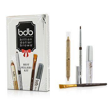 Billion Dollar Brows Best Sellers Set 1x Lápiz Universal Cejas 0.27g, 1x Lápiz Duo Cejas 2.98g, 1x Pincel Mezcla, 1x Gel Cejas 3ml