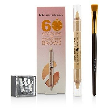 Billion Dollar Brows Kit 60 Seconds to Contoured Brows (1x Lápiz de Cejas Dúo, 1x Brocha Difuminadora, 1x Saca Puntas Dúo)
