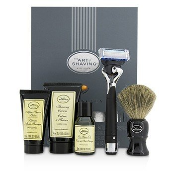Lexington Collection Power Shave Set: Razor + Brush + Pre Shave Oil + Shaving Cream + After Shave Balm - Without Battery
