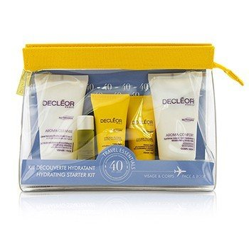 Decleor Kit Hydrating Starter: Mousse Limpiador + Essential Suero 5ml + Crema Ligera 15ml + Leche Corporal 50ml + Bag