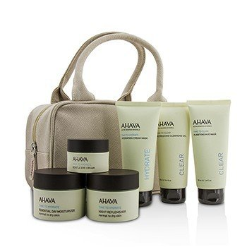 Ahava Set Hydrating Beauty Case: Gel Limpiador 100ml+Mascarilla de Lodo 100ml+Mascarilla en Crema 100ml+Día 50ml+Noche 50ml+Crema de Ojos 15ml+Bolsa