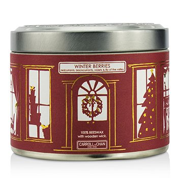 The Candle Company Tin Can 100% Vela de Cera de Abejas con Mecha de Madera - Winter Berries (Redcurrants, Blackcurrants, Violets & Lily Of The Valley)