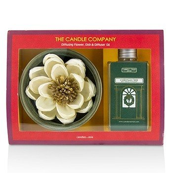 The Candle Company Christmas Tree Diffuser Flower Coffret: Diffusing Flower + Dish + Difusor de Aceite 100ml