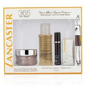 Lancaster Set 365 Skin Repair: Youth Renewal Crema de Día 50ml+ Suero Renovador de Juventud 10ml+ Suero de Ojos 3ml+ Limpiador Express 100ml