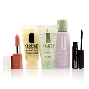 Clinique 3-Step Skin Care System (Skin Type 2): Jabón Facial Suave + Loción Aclarante 2 + DDML + Lash Power Máscara + Clinique Pop Lip