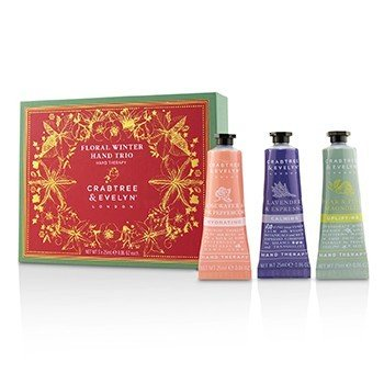 Crabtree & Evelyn Floral Winter Hand Trio (1x Lavender & Espresso, 1x Rosewater & Pink Peppercorn, 1x Pear & Pink Magnolia)