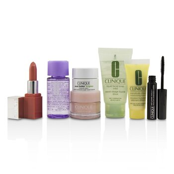 Clinique Set de Viaje: Removedor de Maquillaje 30ml + Jabón Facial 30ml + Impulso de Hidratación 15ml + DDML 15ml + Crema Hidratante 7ml + Máscara 2.5ml + Color de Labios 2.3g