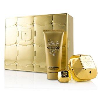 349098c75 Paco Rabanne Lady Million Coffret: Eau De Perfume Spray 80ml + Eau De  Perfume Splash 5ml + Sensual Loción Corporal 100ml 3pcs México