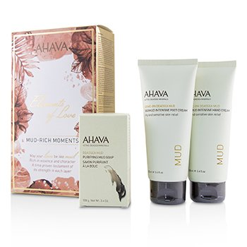 Ahava Elements Of Love Mud-Rich Moments Set de Regalo: Crema de Manos 100ml + Crema de Pies 100ml + Jabón de Lodo Purificante 100g