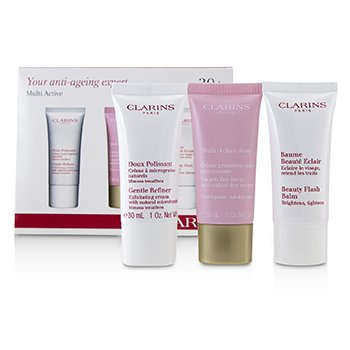 Clarins Set Multi-Active 30+ Cuidado de la Piel Anti-Envejecimiento: Refinador Suave 30ml + Multi-Active Crema de Día 30ml + Beauty Flash Bálsamo 30ml
