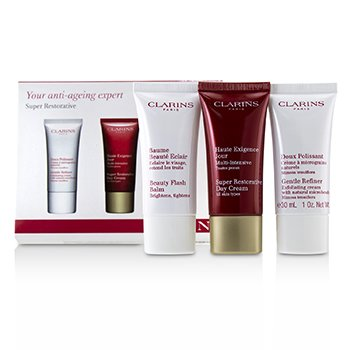 Clarins Set Super Restorative 50+ Cuidado de la Piel Anti-Envejecimiento: Refinador Suave 30ml+ Crema de Día Súper Restauradora 30ml + Beauty Flash Bálsamo 30ml
