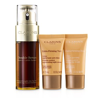 Clarins Set Suero Doble Extra-Edition: Suero Doble 50ml + Crema de Día Extra-Reafirmante 15ml + Crema de Noche Extra-Reafirmante 15ml