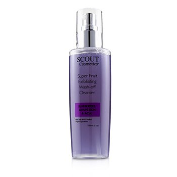 SCOUT Cosmetics Super Fruit Exfoliating Wash-Off Limpiador with Blueberries, Grape Skin & Acai