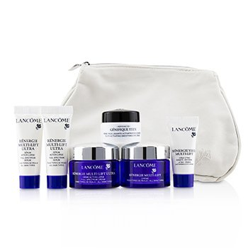Lancome Renergie Travel Set: Redifining Lifting Cream + Full Spectrum Cream + Full Spectrum Serum + Firming Eye Cream + Genifique Eye Cream + Bag