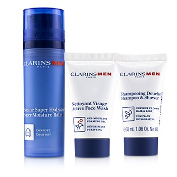 Clarins Set Men Everyday Hydration Heroes: 1x Bálsamo Súper Hidratante 50ml+1x Champú & Ducha 30ml+1x Jabón Facial Activo 30ml