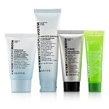 Peter Thomas Roth Kit Jet, Set, Facial ! 4-Piece: 1x Limpiador 30ml + 1x Hidratante 20ml + 1x Gel Mascarilla de Pepino 14ml + 1x Gel Peeling 15ml