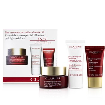 Clarins Super Restorative Essential Care Set: Day Cream 50ml + Night Cream 15ml + Gentle Foaming Cleanser 30ml
