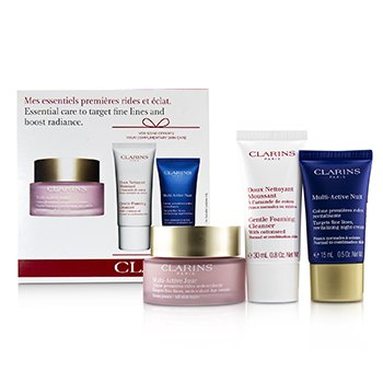 Clarins Multi-Active Essential Care Set: Multi-Active Jour 50ml+ Multi-Active Nuit 15ml+ Gentle Foaming Cleanser 30ml