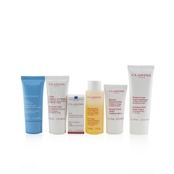 Clarins Set Head-to-Toe Moisturizing Essentials: Limpiador Dacial + Gel de Ojos + Beauty Flash Bálsamo + Crema Hidra-Esencial + Loción Corporal + Crema de Manos