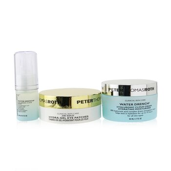 Peter Thomas Roth Kit Good To Glow 3-Piece Hidratación & Brillo: Parches de Ojos Dorados 24K 15 pares + Suero Nube Hialurónico 15ml + Hidratante 50ml
