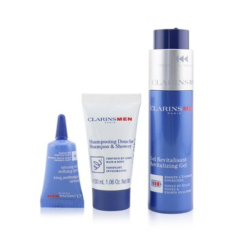 Clarins Men Revitalizing Collection: Gel Revitalizante 50ml + Champú & Ducha 30ml + Suero de Ojos Anti-Fatiga 3ml + Bolsa
