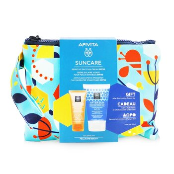 Apivita Suncare Gift Set: Sensitive Face Cream (Chamomile & 3D Pro-Algae) SPF50 50ml + After Sun Cooling Cream-Gel 100ml