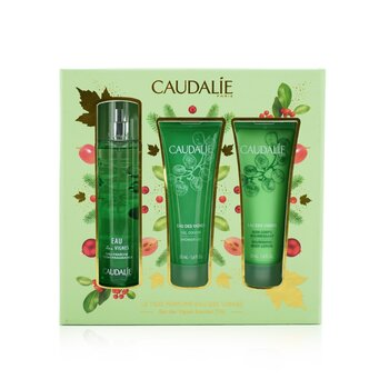 Caudalie Eau Des Vignes Christmas Coffret: Fresh Fragrance Spray 50ml + Gel de Ducha 50ml + Loción Corporal 50ml (Green Line)