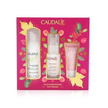 Caudalie Vinosource S.O.S Hydration Set: S.O.S Thirst-Quenching Serum 30ml+ Instant Foaming Cleanser 50ml+ Moisturizing Sorbet 15ml