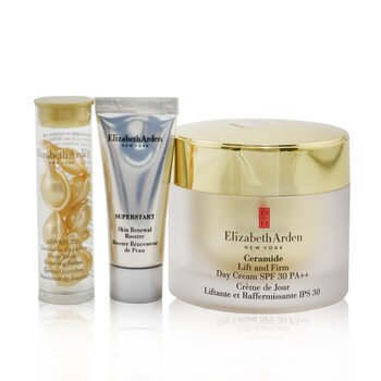 Elizabeth Arden Ceramide Lift & Firm Youth-Restoring Solutions Set: Day Cream SPF 30 50ml+ Advanced Serum 7caps+ Superstart Booster 5ml