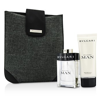 Bvlgari Man Coffret: Eau De Toilette Spray 100ml + Bálsamo para Después de Afeitar 100ml + Bag