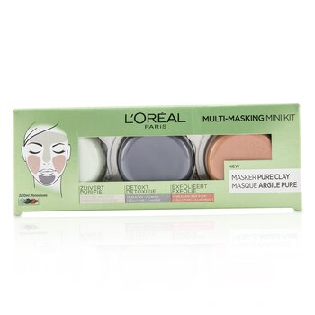 LOreal Multi-Masking Mini Kit:  Exfoliate & Refine Pores Clay Mask, Detoxifies & Clarifies Clay Mask & Purify & Mattify Clay Mask