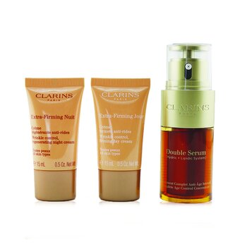 Clarins Double Serum & Extra-Firming Collection: Double Serum 30ml + Extra-Firming Day 15ml + Extra-Firming Night 15ml (Unboxed)