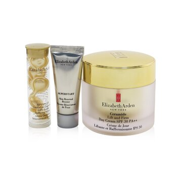 Elizabeth Arden Ceramide Lift & Firm Youth-Restoring Solutions Set: Day Cream SPF 30+ Advanced Serum+ Superstart Bo... (Box Slightly Damaged)